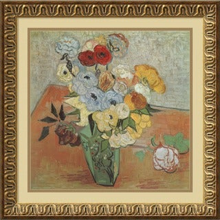 Framed Art Print 'Roses and Anemones' by Vincent van Gogh 22 x 22-inch