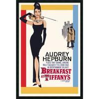 Framed Art Print Audrey Hepburn - Breakfast at Tiffany's 26 x 38-inch - Red/Black/White