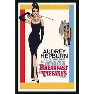 Framed Art Print Audrey Hepburn - Breakfast at Tiffany's 26 x 38-inch - Red/Black/White