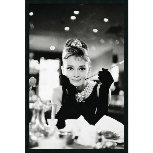 shop framed art print audrey hepburn breakfast at tiffany 39 s 26 x 38 inch free shipping today. Black Bedroom Furniture Sets. Home Design Ideas