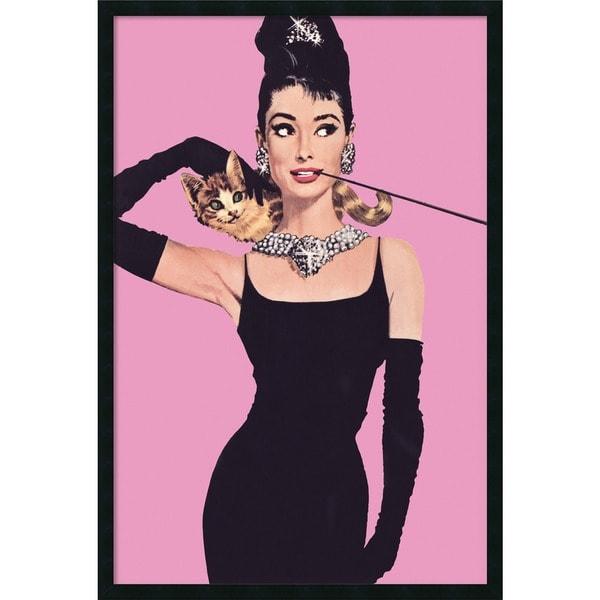 Audrey Hepburn - Pink' Framed Art Print with Gel Coated Finish