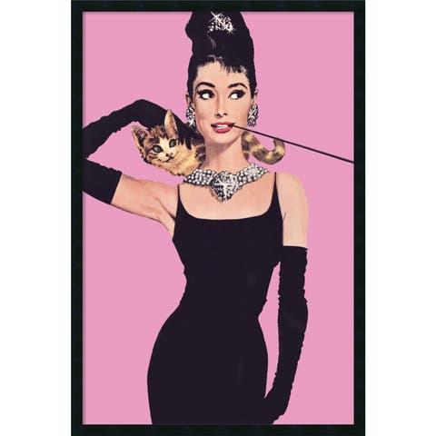 Framed Art Print Audrey Hepburn - Pink 26 x 38-inch
