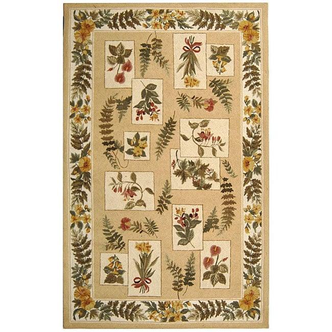 Safavieh Hand-hooked Garden Ivory Wool Rug (6' x 9')