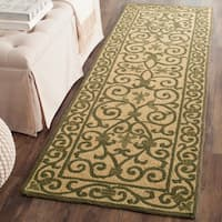 Safavieh Hand-hooked Iron Gate Yellow/ Light Green Wool Runner - 2'6 x 10'