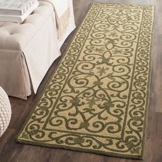 Safavieh Hand-hooked Iron Gate Yellow/ Light Green Wool Runner (2'6 x 8')
