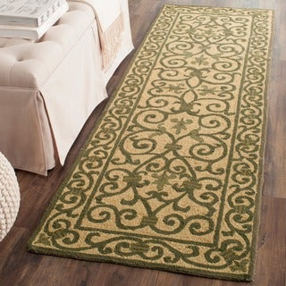 Safavieh Hand-hooked Iron Gate Yellow/ Light Green Wool Runner (2'6 x 6')