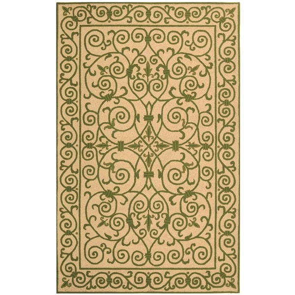 Safavieh Hand-hooked Iron Gate Yellow/ Light Green Wool Rug - 3'9 x 5'9