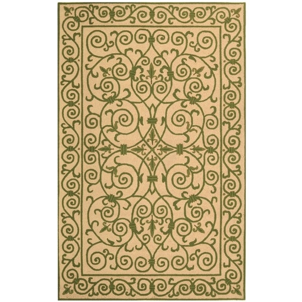 "Safavieh Hand-hooked Iron Gate Yellow/ Light Green Wool Rug - 5'3"" x 8'3"""