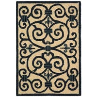 "Safavieh Hand-hooked Iron Gate Ivory/ Navy Blue Wool Rug - 1'-8"" x 2'-6"""