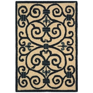 Safavieh Hand-hooked Iron Gate Ivory/ Navy Blue Wool Runner (2'6 x 12')