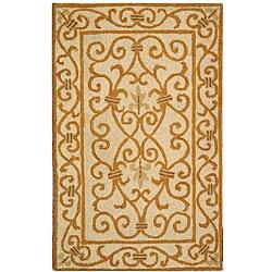 Safavieh Hand-hooked Iron Gate Ivory/ Gold Wool Runner (2'6 x 4')