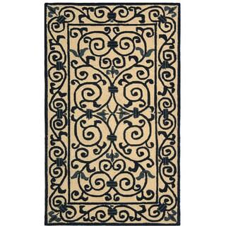 Safavieh Hand-hooked Iron Gate Ivory/ Navy Blue Wool Runner (2'6 x 4')