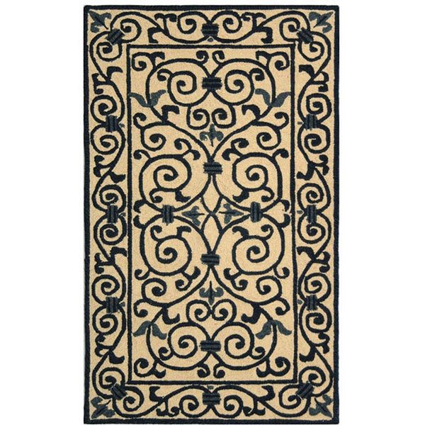 Safavieh Hand-hooked Iron Gate Ivory/ Navy Blue Wool Runner (2'6 x 4')