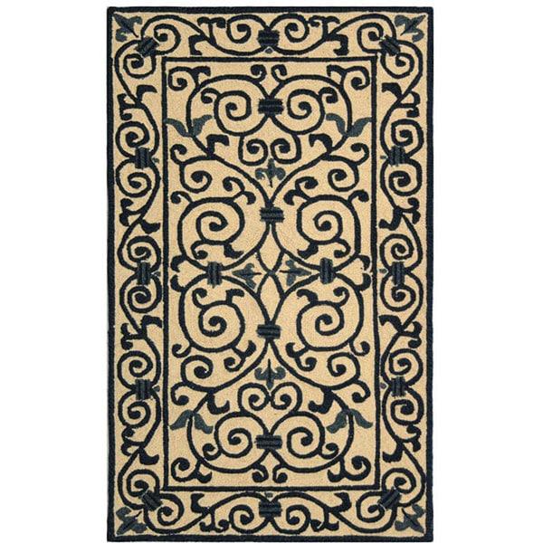 Safavieh Hand-hooked Iron Gate Ivory/ Navy Blue Wool Rug (2'9 x 4'9)