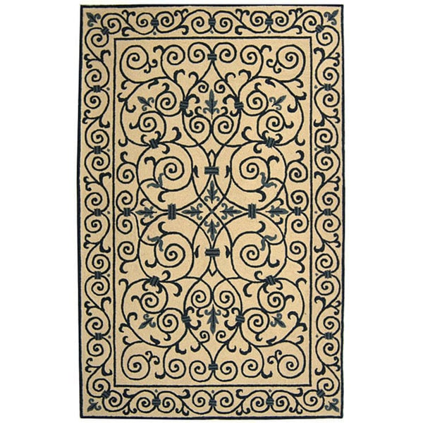 Safavieh Hand-hooked Iron Gate Ivory/ Navy Blue Wool Rug (6' x 9')