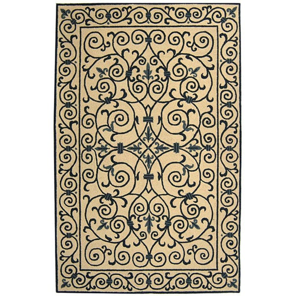 Safavieh Hand-hooked Iron Gate Ivory/ Navy Blue Wool Rug - 6' x 9'