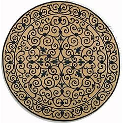 Safavieh Hand-hooked Iron Gate Ivory/ Navy Blue Wool Rug (3' Round)