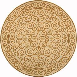 Safavieh Hand-hooked Iron Gate Ivory/ Gold Wool Rug (3' Round)