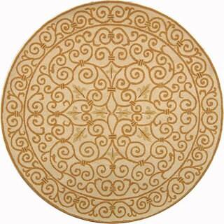 Safavieh Hand-hooked Iron Gate Ivory/ Gold Wool Rug - 3' x 3' round
