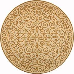 Safavieh Hand-hooked Iron Gate Ivory/ Gold Wool Rug (5'6 Round)