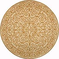 "Safavieh Hand-hooked Iron Gate Ivory/ Gold Wool Rug - 5'6"" x 5'6"" round"