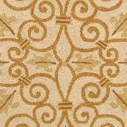 Safavieh Hand-hooked Iron Gate Ivory/ Gold Wool Rug (4' Round) - Thumbnail 2