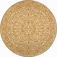 Safavieh Hand-hooked Iron Gate Ivory/ Gold Wool Rug - 8' x 8' Round