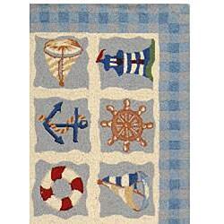 Safavieh Hand-hooked Sailor Ivory Wool Rug (3'9 x 5'9) - Thumbnail 1