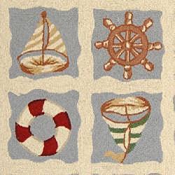 Safavieh Hand-hooked Sailor Ivory Wool Rug (3'9 x 5'9) - Thumbnail 2