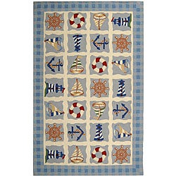 Safavieh Hand-hooked Sailor Ivory Wool Rug - 3'9 x 5'9 - Thumbnail 0