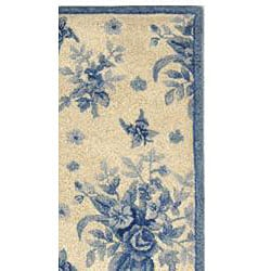 Safavieh Hand-hooked Flov Ivory/ Blue Wool Rug (2'9 x 4'9) - Thumbnail 1