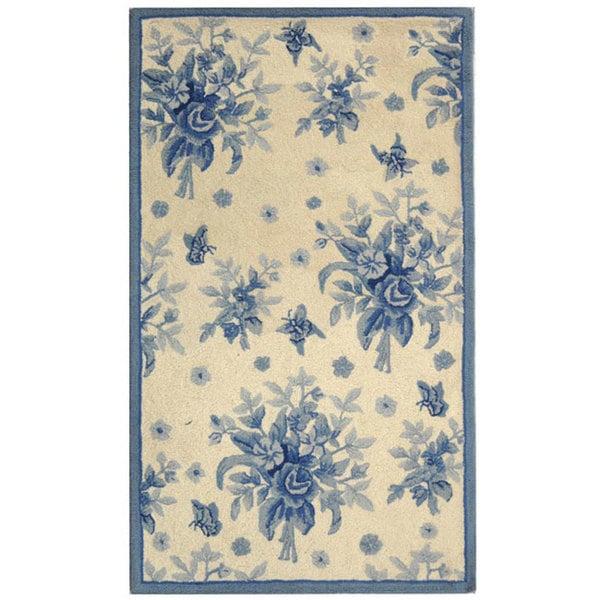 """Safavieh Hand-hooked Flov Ivory/ Blue Wool Runner Rug - 2'6"""" x 4'"""