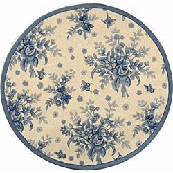 Safavieh Hand-hooked Flov Ivory/ Blue Wool Rug (3' Round)