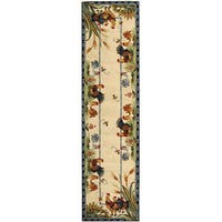 Safavieh Hand-hooked Floral Ivory/ Gold Wool Runner