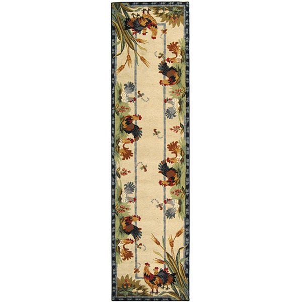 """Safavieh Hand-hooked Floral Ivory/ Gold Wool Runner - 2'6"""" x 12'"""