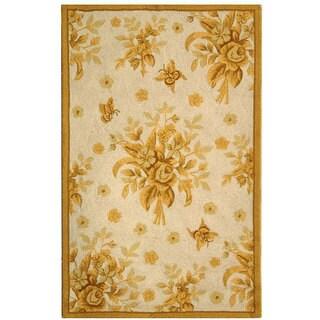 Safavieh Hand-hooked Flov Ivory/ Gold Wool Runner (2'6 x 4')