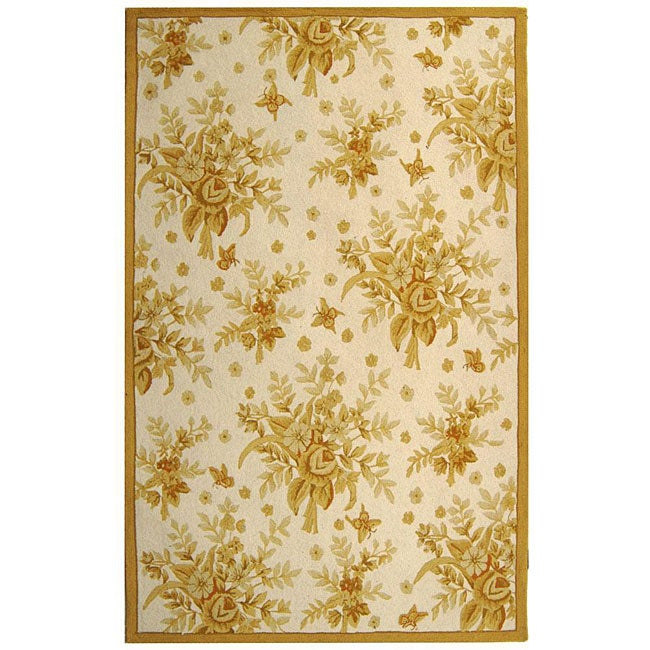 Safavieh Hand-hooked Flov Ivory/ Gold Wool Rug (6' x 9')