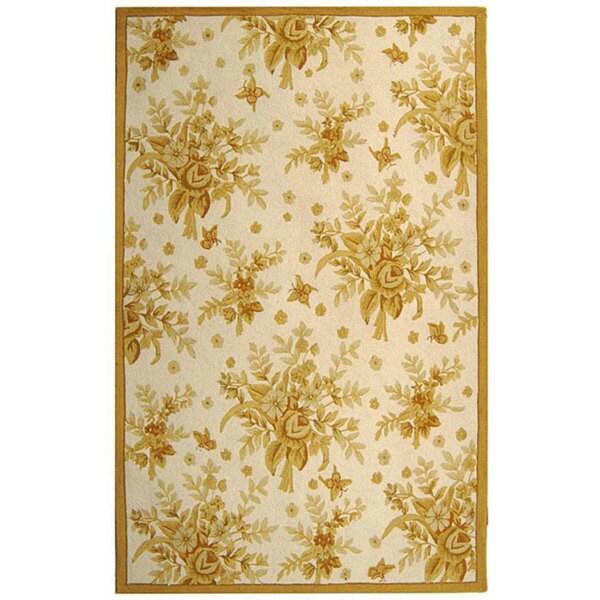Safavieh Hand-hooked Flov Ivory/ Gold Wool Rug (5'3 x 8'3)