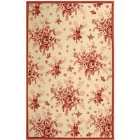 "Safavieh Hand-hooked Flov Ivory/ Rose Wool Rug - 5'3"" x 8'3"""