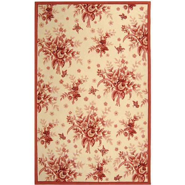 Safavieh Hand-hooked Flov Ivory/ Rose Wool Rug - 8'9 X 11'9