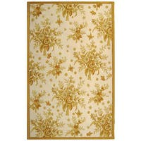 "Safavieh Hand-hooked Floral Ivory/ Gold Wool Rug - 7'9"" x 9'9"""