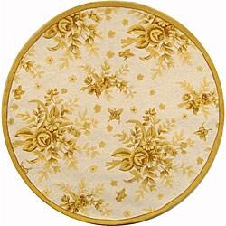Safavieh Hand-hooked Flov Ivory/ Gold Wool Rug (3' Round)