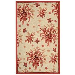 Safavieh Hand-hooked Flov Ivory/ Rose Wool Rug (2'9 x 4'9)
