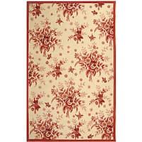 Safavieh Hand-hooked Flov Ivory/ Rose Wool Rug - 7'9 x 9'9