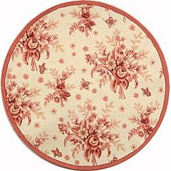 Safavieh Hand-hooked Flov Ivory/ Rose Wool Rug (3' Round)