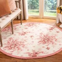 Safavieh Hand-hooked Flov Ivory/ Rose Wool Rug - 4' x 4' Round