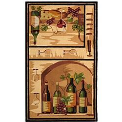 Safavieh Hand-hooked Winery Gold/ Multi Wool Rug (3'9 x 5'9)