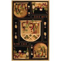 Safavieh Hand-hooked Winery Black/ Multi Wool Rug - 3'9' x 5'9'