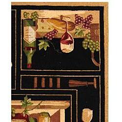 Safavieh Hand-hooked Winery Black/ Multi Wool Rug (7'9 x 9'9) - Thumbnail 1