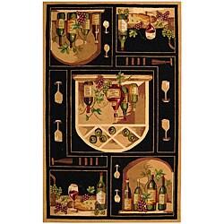 Safavieh Hand-hooked Winery Black/ Multi Wool Rug (7'9 x 9'9)